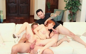 Horny redhead Penny Pax gets dual screwed by her masculine lovers