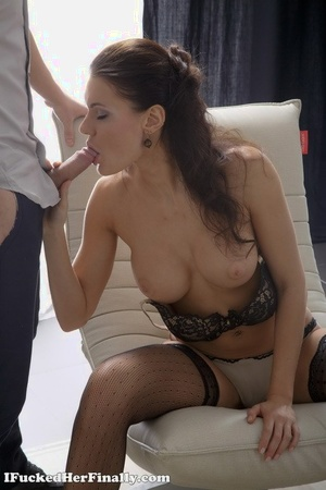 Teen first timer Harper parks her tight backdoor upon a salami in black stockings