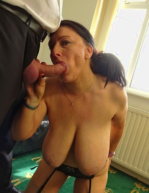 Older inexperienced with huge bra-stuffers Sabrina Jade gets banged in garters and nylons
