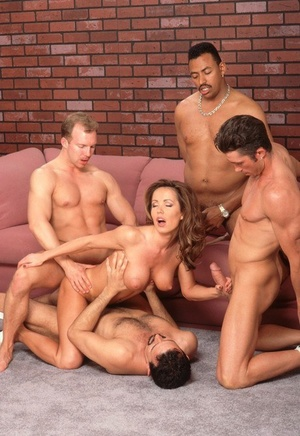 Busty MILF Envy sucks and rides multiple cocks in a nasty gangbang