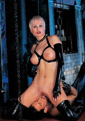 Hot older blonde Anoushka takes her male slaves jizz on tongue after kinky sex