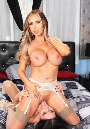 Hot big titted MILF slut Nikki Benz & her leggy lesbian friend munching ass