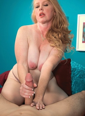 Boy mouthfucks mature blonde woman with big boobs and cums on her face