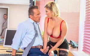Busty office slut Sienna Day sucks off the boss wearing black stockings