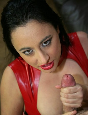 Busty chick Sonya Sage gets jizz on her face after jerking off a cock
