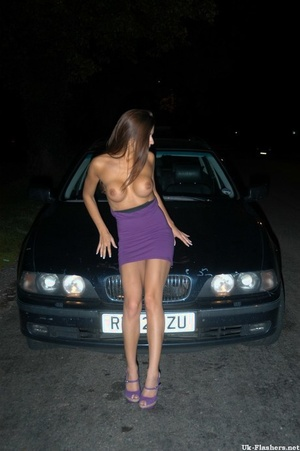 Long legged UK doll exposes her boobs on bonnet of car at night