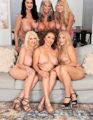 Group of horny nans remove lingerie as they gather for group sex