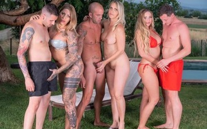 German girls perform xxx sex acts during outdoor group sex
