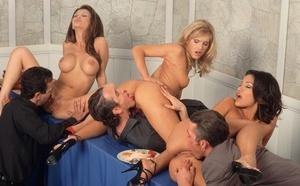 Hot & kinky Adriana Sage enjoys big cock deepthroat in sizzling dinner orgy