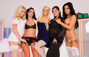 Group of hot chicks have a switch sides gangbang with their favorite doctor