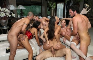 European swingers blindfold the men before wall to wall gang-bang