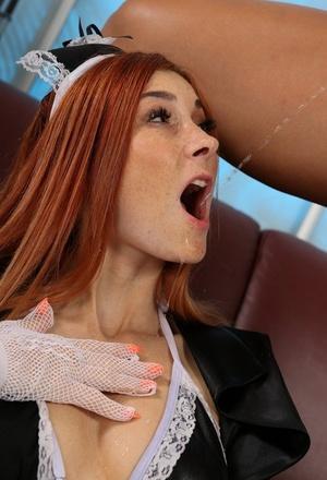 Lesbian girls Victoria Sweet & Kattie Gold tongue kiss after watersports