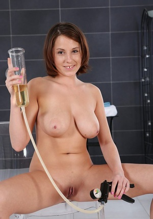 Busty Euro babe toys and masturbates hairless twat in shower before peeing