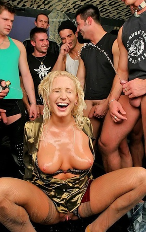 Filthy blonde slut having her face and tits coated in jism and piss