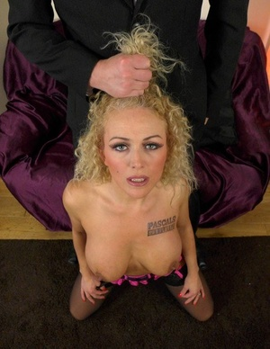 Older ash-blonde female Rebecca Smyth exposes her orbs and twat before being branded