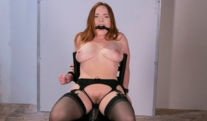Thick female Summer Hart endures forced masturbation after being restrained