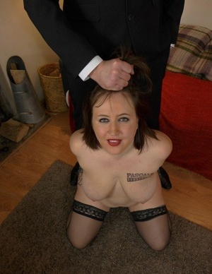 Fat very first timer Laura Louise strips to her ebony stockings on command