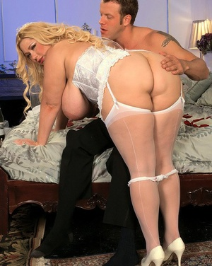 Obese lady with ample breasts gets fucked on her wedding night