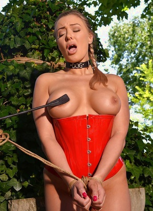 European BDSM models Beth and Eve engage in lezdom sex outdoors