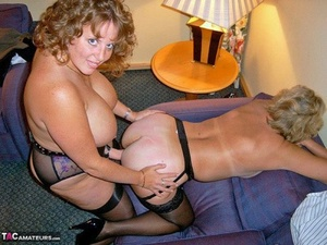 Older lady Curvaceous Claire and a girlfriend have lezzie sex with a strapon penis