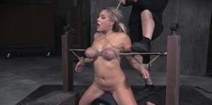 Blonde slave Angel Allwood gets big tits roped and force fed big black cock