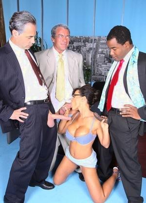 Steamy MILF job hunter Lisa Ann sucking boss cock in office 3 way to get the job