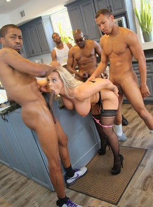 Blonde real estate agent finds herself in middle of interracial gangbang
