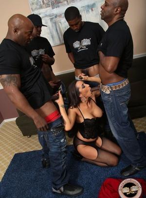 Brunette skank Kaylynn takes on a a bevy of big ebony pricks in messy blowbang