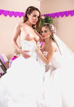 Lesbian teen pornstars Dillion Harper and Kimmy Granger pose on wedding day