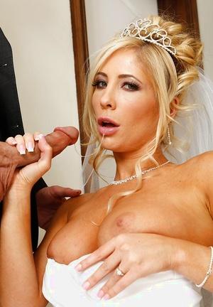 Astonishing stunner Tasha Reign tastes a big dick on her wedding