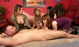 Clothed women help one of their own out with pleasing her naked husband