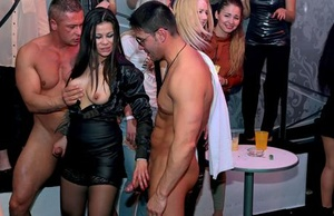 Club going party ladies get drunk and suck off male strippers
