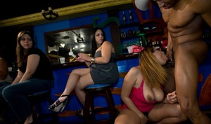 Clothed damsels are having joy with a strippers massive dagger and his ass