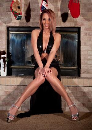 Amateur Mummy Nikki Sims stripping down to panty panties at Christmas