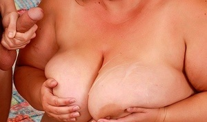 SSSBBW Erin Green holds her big boobs for cum shot after being fucked