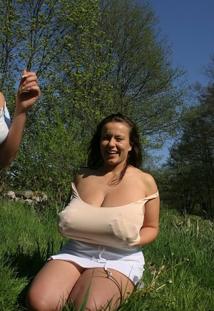 Lesbians Ines Cudna & Aneta Buena play with each others knockers in stream