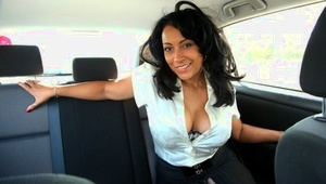 Older lady Danica Collins masturbates her trimmed pussy inside a vehicle