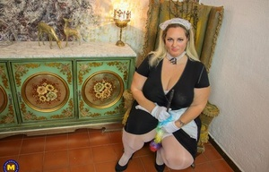 Fat maid whips out massive tits before masturbating on the job