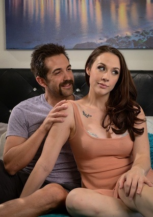 Big titted girl Chanel Preston takes a jizz blast on her hot caboose after fucking