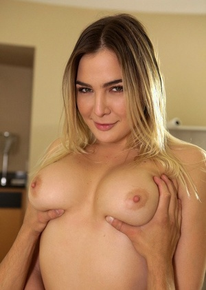 Dirty blonde woman Blair Williams seduces her stud in white lingerie