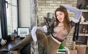 Solo girl Mia covers her pretty face and body in numerous layers of panyhose