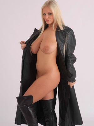 Super hot ash-blonde with fat tits opens leather overcoat to pose nude in matching shoes