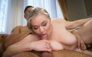 Chubby old damsel Betsy B goes pussy to mouth with a large dick