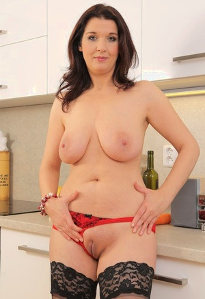 Horny housewife Fernanda Jerson loves a cucumber insertion with her wine