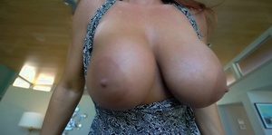 Big boobed housewife strokes and sucks her guy's cock POV style