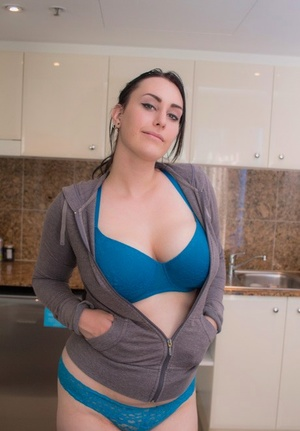 Thick cool Chloe Jenks takes off her hot bra and panties to air her big tits