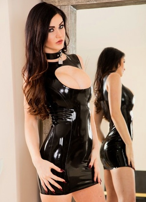 Busty Kendall Karson in latex dress endures a rough double penetration