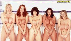 MILF pornstar Autumn Jade and big-boobed lesbian gfs strip off denim to pose nude