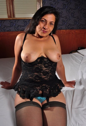 Horny older woman in lace lingerie reveals her big nipples & hairy fuckbox