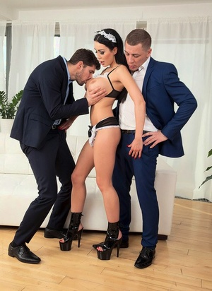 Busty maid Patty Michova pleasures the dude of the house and hid acquaintance at once